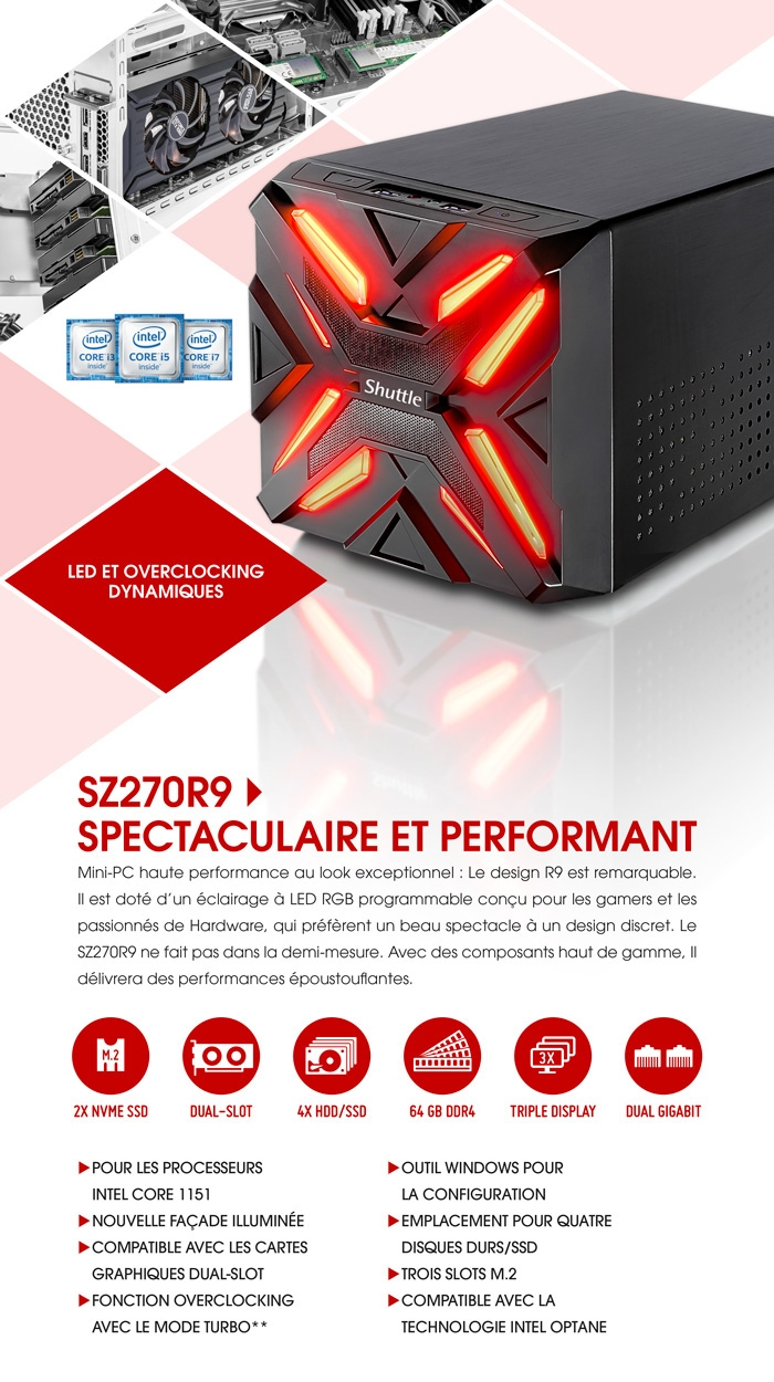 Shuttle XPC SZ270R9 : Spectaculaire et performant